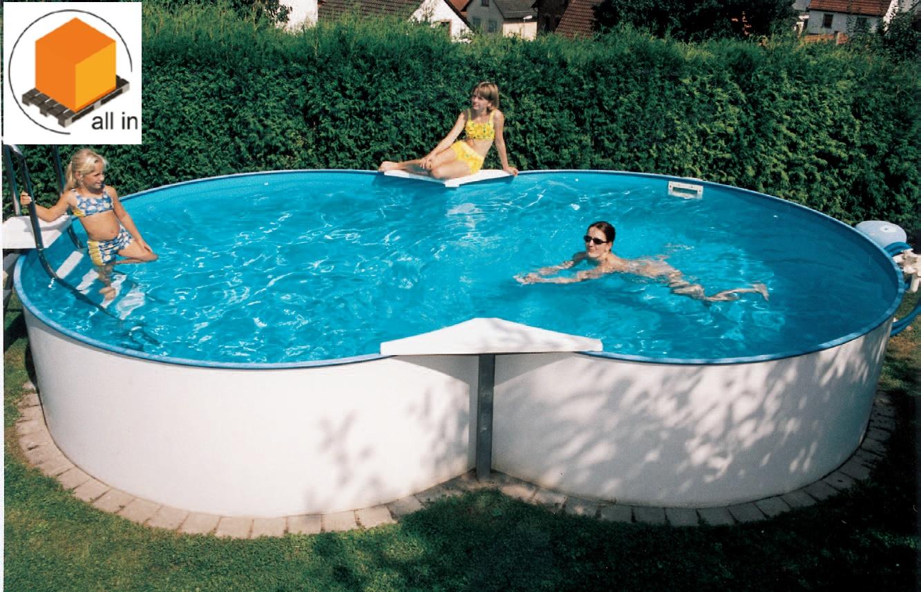 All in aufstellbeckenset achtformbecken family 525x320x120 cm - Pool aufstellbar ...